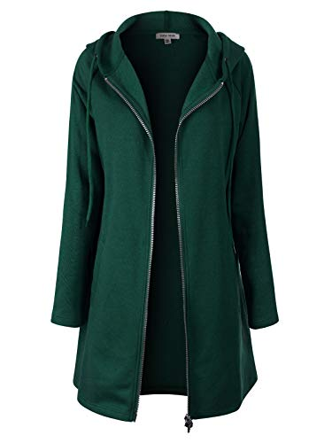 Design by Olivia Women's Casual Loose Fit Long Zip Up Pullover Hoodie Tunic Sweatshirt Jacket (S-3X) Hunter Green 3XL