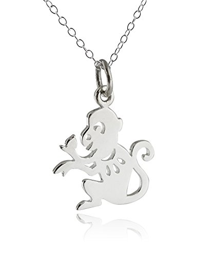 FashionJunkie4Life Sterling Silver Chinese Year of the Monkey Charm Necklace, 18