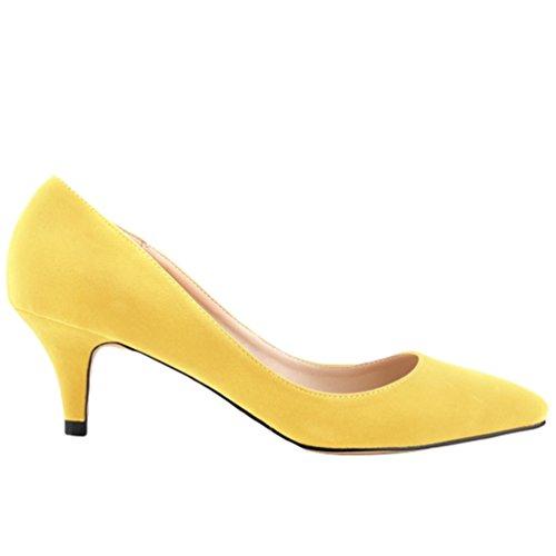 Sexy Pointue Nu Talon Haut Wanyang Escarpins Stiletto Aiguille Jaune Chaussures Soirée pieds Femme Escarpin 6RwqzY6I