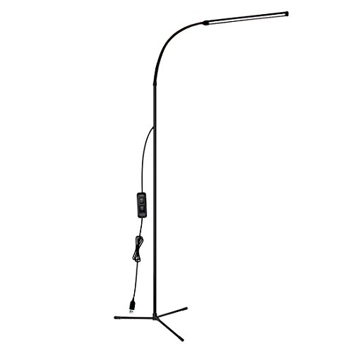 LED Tech Floor Lamp with Dimmable Light, Large Garage Floor Lamp for Men, Tall Black Floor Lamp for Living Room, Kitchen and Bedroom