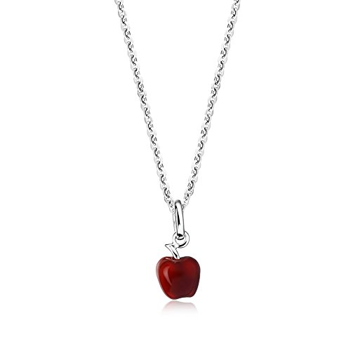 Z&T [Knowledge Stainless Steel 3D Apple Shaped Pendant Necklace - Teachers Appreiation Gift