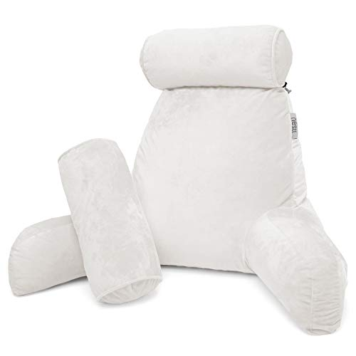 - Nestl Reading Pillow, Includes 1 Extra Large Bed Rest Pillow with Arms and Pockets + 2 Detachable Pillows - Premium Shredded Memory Foam TV Pillow, Neck Roll & Lumbar Support Pillow - Set of 3 - White