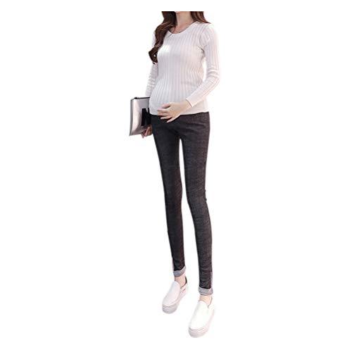 Hzjundasi Maternity Elastic Soft Jeans Pants Women Pregnant Adjustable Denims Trousers Style 4 Black