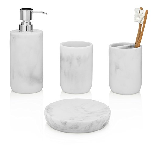 EssentraHome 4-Piece White Bathroom Accessory Set. Complete Set Includes: Soap/Lotion Dispenser, Toothbrush Holder, Tumbler, and Soap Dish