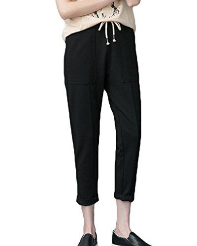 Nero Casuale Larghi Sottile Elastico Coulisse Pantaloni Estate Donna Sportivi Dooxi Pantaloni vaOxwE4qHn