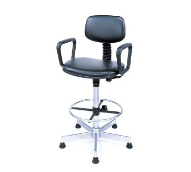 "Nexel Swivel Stool, Adj. Height 20"" To 24"", Loop Arms"