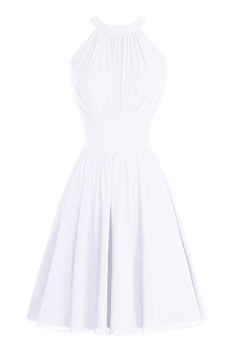Short Party White Ruched Bridal Bess Dress Halter Bridesmaid Knee Women's Length Prom wqxYBFzZ
