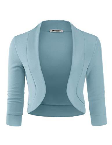 (Doublju Womens 3/4 Sleeve Bolero Open Front Cardigan with Plus Size Denim Medium)