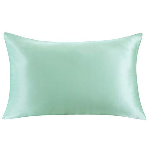 ZIMASILK 100% Mulberry Silk Pillowcase for Hair and Skin,with Hidden Zipper,Both Side 19 Momme Silk, 1pc(Queen 20''x30'', Mint Green)