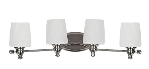 Chloe Lighting CH0190-BN-BL4 Transitional 4-Light Brushed Nickel Bath Vanity Wall Fixture with 31-Inch Wide Alabaster (Transitional Brushed Nickel Bath)