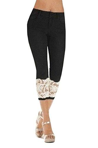 Meilidress Womens Skinny Stretch Lace Trim Capri Jeans Denim Jeggings Pants Black ()