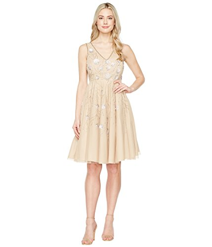 テープ方言大学院[アドリアナパペル] Adrianna Papell レディース Sleeveless Tea Length Beaded Dress ドレス [並行輸入品]