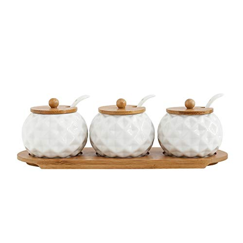 Decentgadget®–Set di 3cucchiai di spezie condimenti, Pot condimento contenitore in ceramica con coperchi in bambù vassoio barattolo rotondo con oblique Square grain
