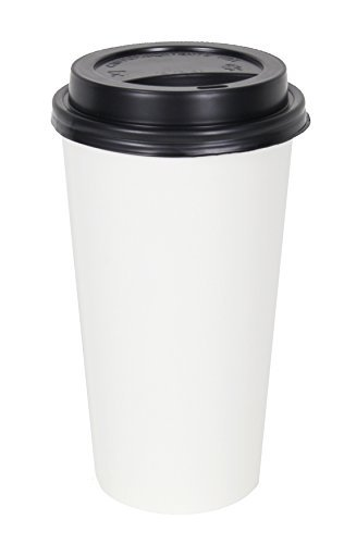 2dayShip 100 Pack WHITE Paper Coffee Hot Cups with BLACK Travel Lids - 20 ounce