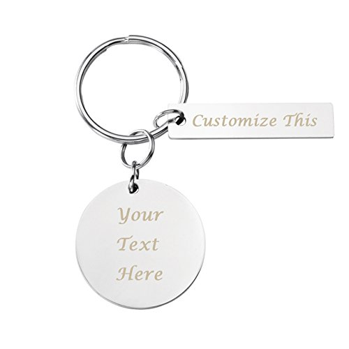 PiercingJ Personalized Custom Engraved Name Keychain Circle Round Disc Dog Tag Pendant Rectangle Keychain Key Ring for Best Friend Family