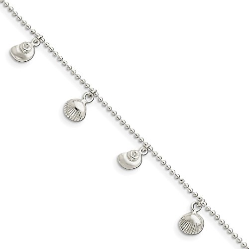 ICE CARATS 925 Sterling Silver Sea Shell Mermaid Nautical Jewelry Anklet Ankle Beach Chain Bracelet Seashore Fine Jewelry Gift Set For Women (Heart Shell Anklet)