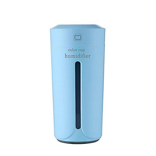 Leegoal Mini USB Air Humidifier,No Noise 230ML Portable Ultrasonic Cool Mist Purifier With LED Night Light for Car Travel Office Babies Kids Desk Home Bedroom by Leegoal
