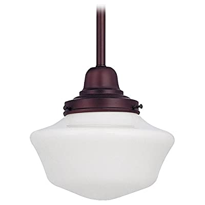 8-Inch Schoolhouse Mini-Pendant Light in Bronze Finish