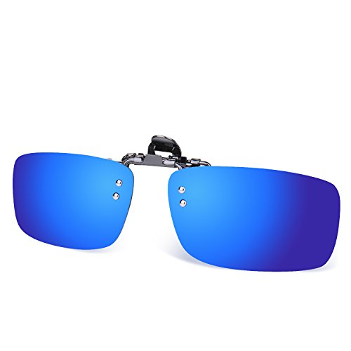 (Besgoods Polarized Clip-on Glasses Metal Clip Flip up Sunglasses Driving Sport)