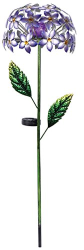 Sunset Vista Designs 92652 Purple Hydrangea Garden Stake, Solar Powered Light (Crackle Feeder Hummingbird)
