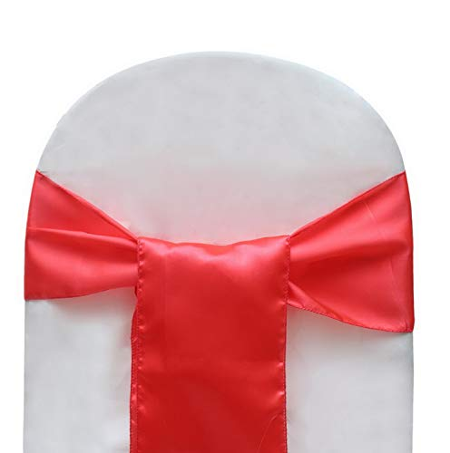 Werrox Tomato Color Satin Bow for and Events Supplies Decoration Chair Cover Sashes 20 Pcs | Model WDDNG -2904 | Frees Size