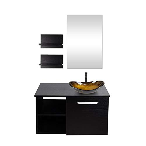 28-Inch Bathroom Vanity, Modern Lavatory Wall Mounted Wood Cabinet, with Mirror, Wood - Bathroom Black Chelsea Mirrors