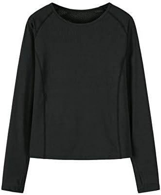 トレーニングスポーツプルオーバーを実行している女性のフィットネス服、長袖の速乾性汗発散性に優れたTシャツ、
