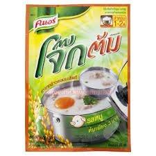 Knorr Pre Cooked Rice Porridge Pork Flavor - Organic Thai jasmine rice Bran Hot vitamin B 1 Breakfast Foods Porridge Instant 18-Ounce Bags Pack of 4