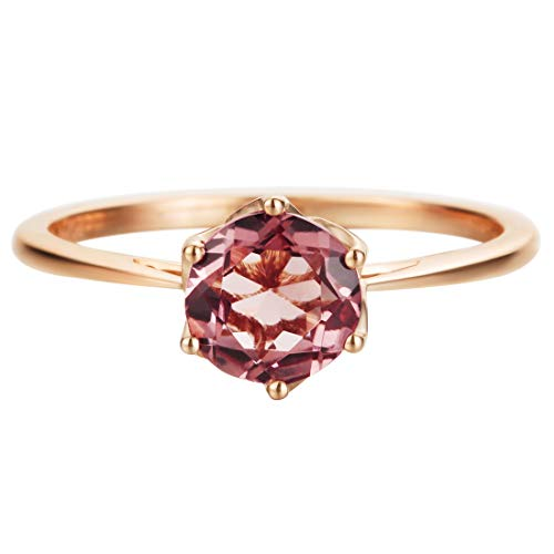 (AGVANA 14K Solid Rose Gold(Au585) 0.85Ct Natural Pink Tourmaline Ring Classic Promise Wedding Engagement Ring Fine Jewelry Gift for Women, Ring Size 7 )