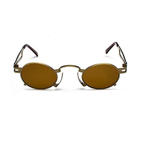 Mujeres Vintage para hombres de en Glasses sol de estuche Retro Sun círculo Punk metal de Lentes con Eyewear inspiradas Gafas sol Marco con redonda Marrón el lente Steam 6nwq7qfxOS