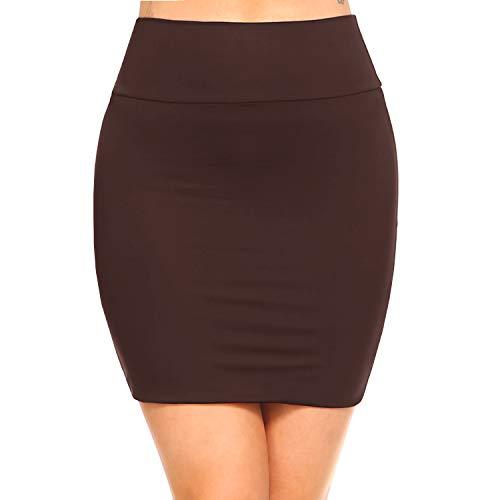 Fashionazzle Women's Casual Stretchy Bodycon Pencil Mini Skirt (Medium, KS06-Brown/Spandex)