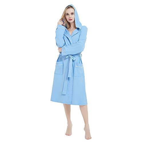 M&M Mymoon Womens Hooded Cotton Robe Soft Kimono Spa Knit Bathrobe Lightweight Long (Sky Blue, L) Blue Sky Cotton Cap
