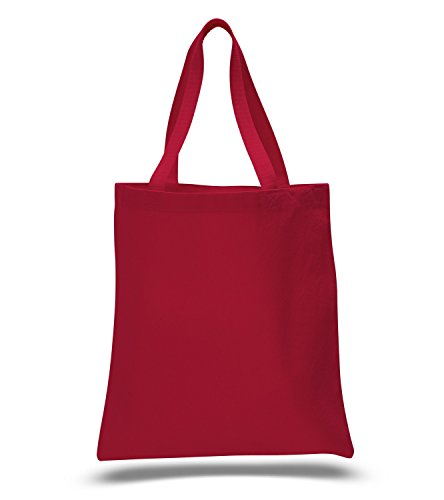 (12 Pack) 1 Dozen - Heavy Cotton Canvas Tote Bags (Red)