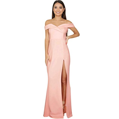 Chaud! Yahoo Femmes Off paule Summer Long Dress Robe De Cocktail Sans Manches Filles D't Split The Fork Jupes Dames Sexy Lrregular Dress Robes (L, Rose) Rose