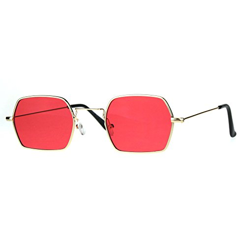 Rectangular Hexagon Sunglasses Indie Style Thin Metal Frame Gold, Red - Mens Indie Fashion
