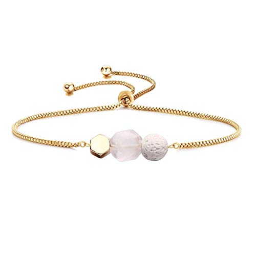 Gemstone Bracelet - Jardme Essential Oil Diffuser Bracelet, Lava and Rose Quartz Essential Oil Bracelet, Rose Quartz Gemstone Bracelet, Adjustable Gold Bracelet