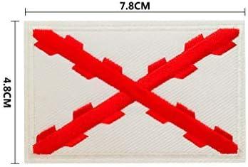 BANDERA DEL PARCHE BORDADO PARA PLANCHAR O COSER (Cruz de Borgoña 7.8cm)