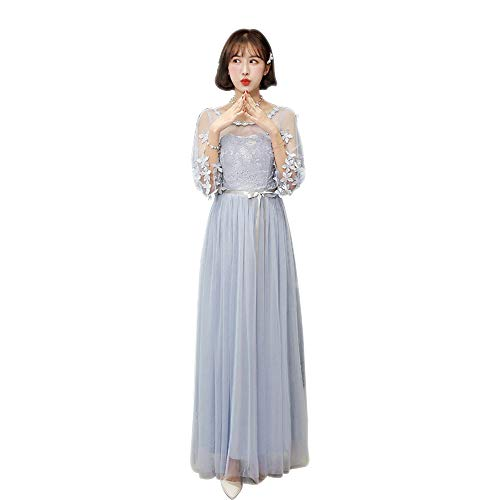 KINDOYO Womens Long Bridesmaid Dress Slim Lace Evening Dress Korea Style