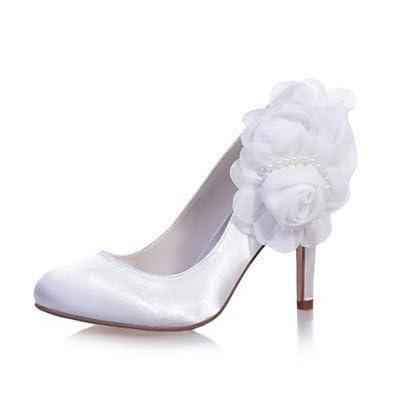 Le meilleur cadeau pour femme et mère Femme Chaussures Satin Printemps Eté Escarpin Basique Chaussures de mariage Talon Aiguille Bout rond Appliques pour Mariage Soirée & , us5.5 / eu36 / uk3.5 / cn35