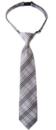 (Retreez Tartan Plaid Styles Woven Microfiber Pre-tied Boy's Tie - Grey - 4-7 years)