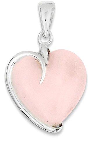 ICE CARATS 925 Sterling Silver Rose Quartz Pendant Charm Necklace Gemstone Fine Jewelry Gift Set For Women (Sale Quartz Necklace)