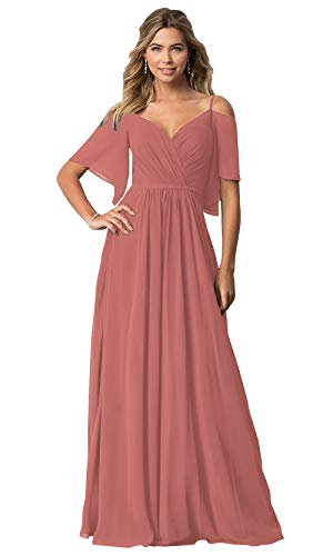 KKarine A Line Spaghetti Strap Off The Shoulder Sash Bridesmaid Dresses for Teens Ruched Chiffon Long Formal Gown (16 Rusty Rose)