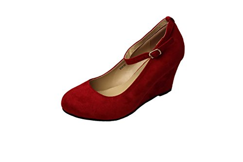 GREENS Round Toe Faux Suede Mid Wedge Pump Slip On Women Shoes Red qqFBuhvE