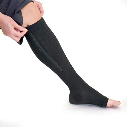 Zipper Medical Compression Socks with Open Toe 15-20mmHg - Best Support Zipper Stocking for Varicose Veins, Edema, Swollen or Sore Legs, (Large, Black)