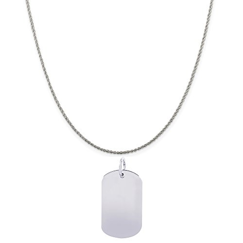 Genuine Rembrandt Charms Sterling Silver Dog Tag Accent Charm on a Sterling Silver Rope Chain Necklace, 16