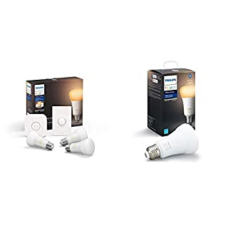 Philips Hue White Ambiance LED Smart Button Starter Kit with Philips Hue White Ambiance A19 LED Smart Bulb