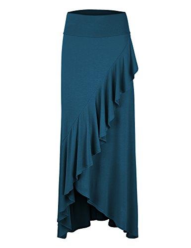LL WB1356 Womens Wrapped High Low Ruffle Maxi Skirt XL (Ruffle Skirt)