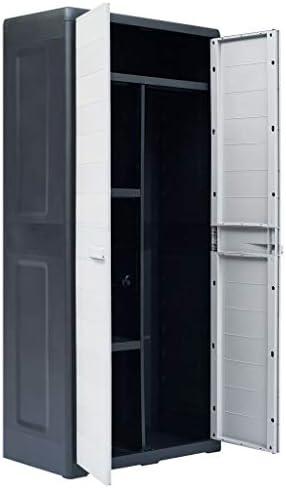 Noir et Gris Clair 78x46x175 cm Armoire de Jardin Exterieur Plastique Galapara Armoire Haute Armoire de Rangement de Jardin avec 2 Portes et 4 /étag/ères r/églables