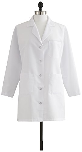 Medline Healthcare MDT11WHT4E Ladies Staff Length Lab Coat, Size 4, White