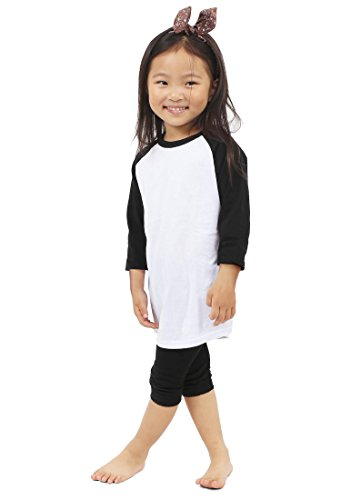 Baseball Kids T-shirt (Kids Raglan T Shirts 3/4 Baseball Baby (M (6-7Yrs 7T), White/Black))